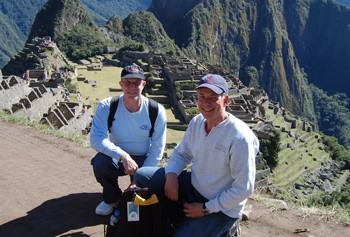 Mark Zwanger, MD, and Malcolm Kram, DVM, in front of Machu Picchu