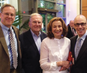 From left: Michael P. Savage, MD, Ralph J. Roberts Professor of Cardiology; Stanley and Arlene Ginsburg; and Stephen K. Klasko, MD, MBA, President and CEO, Thomas Jefferson University and Jefferson Health.